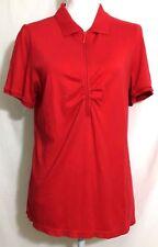 LANE BRYANT womens knit top SIZE 14 -16 red zipper short sleeve cotton (G406)