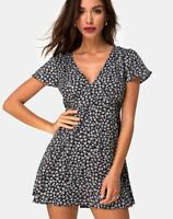 MOTEL ROCKS  Elara Dress in Ditsy Rose Black S Small (mr66)