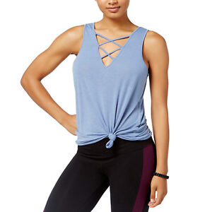 Material Girl Juniors Lace-Up V-Neck Printed Tank