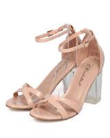 New Women Breckelles Tango-05 Patent PU Open Toe Ankle Strap Lucite Block Heel