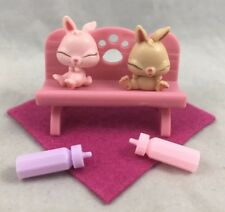 Rescue Tails Baby Bunny Rabbit Newborn Twins Bench Bottle Littlest Pet Shop Lot