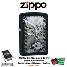 Zippo Harley-Davidson Iron Eagle Lighter, Black Matte, Genuine Windproof #28485