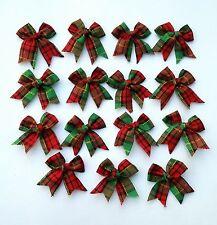 Lots 40 Red/Green Tartan Plain Ribbon Bows Christmas for Craft/Decorated/ DIY