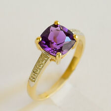 AMETHYST RING GENUINE DIAMONDS REAL 9K 375 GOLD SIZE M.5 FEBRUARY BIRTHSTONE NEW