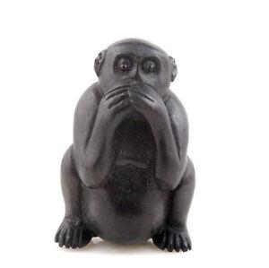 Ebony Ironwood Hand Carve Netsuke Sculpture Miniature Monkey Cover Mouth #042216