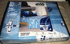 New~Disney Star Wars 3 Piece Microfiber Twin Sheet Set Blue White