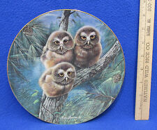 Hamilton Collectors Plate Tree House Trio Owls Woodland Babies Manning Usa