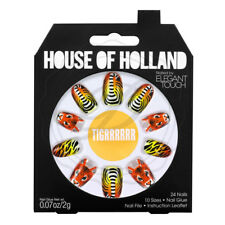 House Of Holland False Nails - Elegant Touch Tiger Print Lion Bright Fake Long