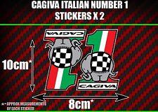 CAGIVA italiano número 1 Pegatinas x2 mito Raptor Supercity Planet Roadster SX t4