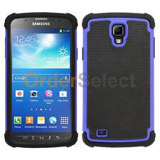 Hybrid Rubber Hard Case for Android Phone Samsung Galaxy S4 Active Blue 100+SOLD