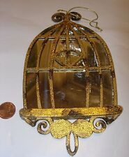 antique gold silver mirror birdcage bird cage decor Christmas Tree Ornament 8x4