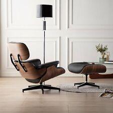 Charles & Ray Eams Lounge Chair mit Ottomane Echt Schwarz Leder Walnut Sessel