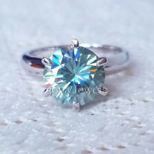 Certified 2.00ct Round Blue Green Moissanite Engagement Ring in 14K White Gold
