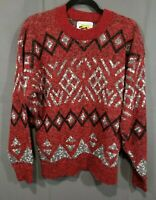 Men's VTG Sweater Aztec/Geometric Sz S Red, Black Made in USA Le Tigre pullover