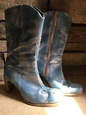 Baby Blue Cowboy Heel Boho Hippie Boots Size 38/8