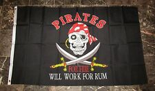 3x5 Jolly Roger Pirate Pirates For Hire Will Work For Rum Flag 3'x5' Banner