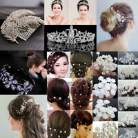 Wedding Bridal Crown Hair Comb Pearl Crystal Hair Pin Clip Accessories Jewelry