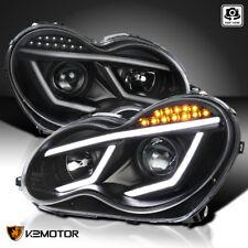 For 2001-2007 Mercedes Benz W203 C230 C240 Led Drl Projector Headlights Black (Fits: Mercedes-Benz)
