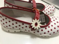 Naturino Girls Mary Jane Sport White/Red Pola Dot Leather Shoes Size Us 2