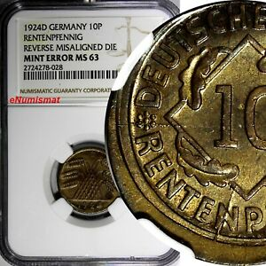 Germany - Weimar Republic 1924 10 Rentenpfennig NGC MINT ERROR MS63 KM# 33 (028)