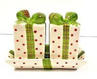 Christmas Gift Box Salt & Pepper Shaker W/Tray Ceramic Kirkland's IOB