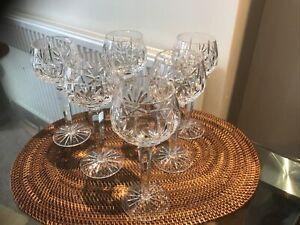Set Of 6 Vintage Crystal Hock Glasses