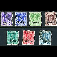 BURMA 1939 Officials 7 Values. (No 2a6p). SG O15-O22. Fine Used. (AM298)