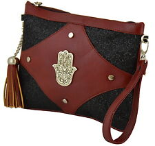 Moroccan Faux Leather Purse Clutch Pouch Hamsa Cosmetic Bag Wrist-let Burgundy