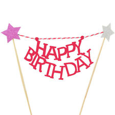 2X Happy Birthday Bunting Star Gold Cake Topper Unique Banner Party Decor Baby
