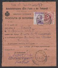 Storia Postale Ricevuta di Ritorno con pubblicitario tagliato Vercelli 1925