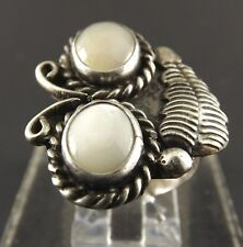 Vintage Sterling Silver Native Indian Mother Of Pearl Moonstone Ring Tribal