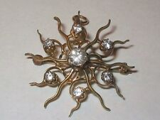 Victorian Faux Diamond BROOCH / PENDANT - Sunburst, 10K Gold