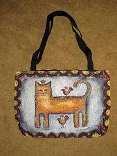 sfacciato GATTO ~ Folk Art GATTO Tappezzeria borsa grande