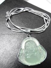 Happy Money Lucky Feng Shui Green Jade Chinese Buddha Silver Chain Necklace #QS