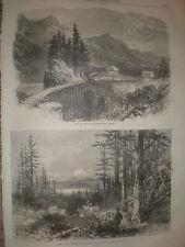 Visualizzazione della linea ferroviaria a cascata montagne dell'Oregon USA 1866 Old print