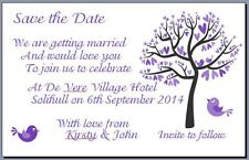 50 x Save the Date Wedding Cards With Envelopes - Purple Tree with Love Birds