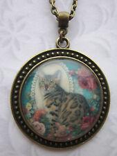 Vintage Gato Flor De Vidrio de cabujón de colgante collar de encanto Antiguo Bronce Regalo