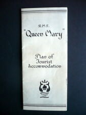 RMS QUEEN MARY TOURIST CLASS DECK PLANS, 8 PAGES 1957,