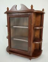 Vintage  Table Top Wood Display Curio Cabinet With Glass Door Federal Style 23""