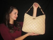 Kate Spade CASHEW MEDIUM SERENA GOLD COAST CREAM Quilted Beige Leather Handbag
