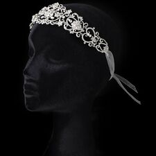 Ivory Ribbon Flower Heart Headband with Rhinestones Prom Bridal Headband
