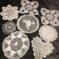 Vintage Antique Hand Crocheted Doilies Lot of 8 White Rounds Hearts Asst Sizes