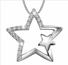 """1/2CT Diamond Star 925 Sterling Silver 18"""" Necklace Love heart Her/Mom Gift 155"""