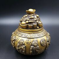 Chinese Antique Brass Gold Plated Carving God Wealth Incense burner