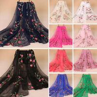 Women Chiffon Long Scarf Muslim Embroidery Hijab Arab Wrap Shawl Headwear India