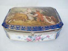 R.S. Prussia Reproduction Porcelain Jewelry Trinket Box Francois Boucher Cobalt