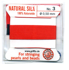 CORAL SILK THREAD 0.50mm STRINGING PEARLS & BEADS GRIFFIN SIZE 3 - FT999