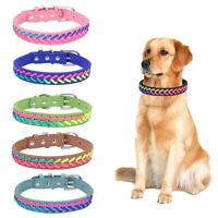 Exquisite Adjustable Colorful Rope Knitting Dog Puppy Pet Collar Leather Woven v