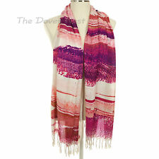 ABSTRACT PRINT MULTI-COLOR SCARF with BRAIDED FRINGE Lightweight OBLONG