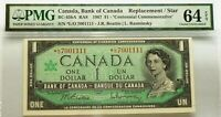 ASTERISK SERIAL NUMBER *L/O 1967  BANK OF CANADA  $1  PMG 64 - ONLY  40K PRINTED